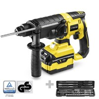 Cordless hammer drill PRDS 20-20V + drill and chisel set, 11 pieces
